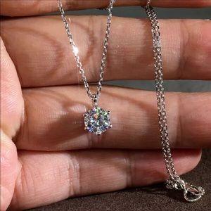 "Jewelry - 18k white gold 3 CT diamond necklace silver 18"""